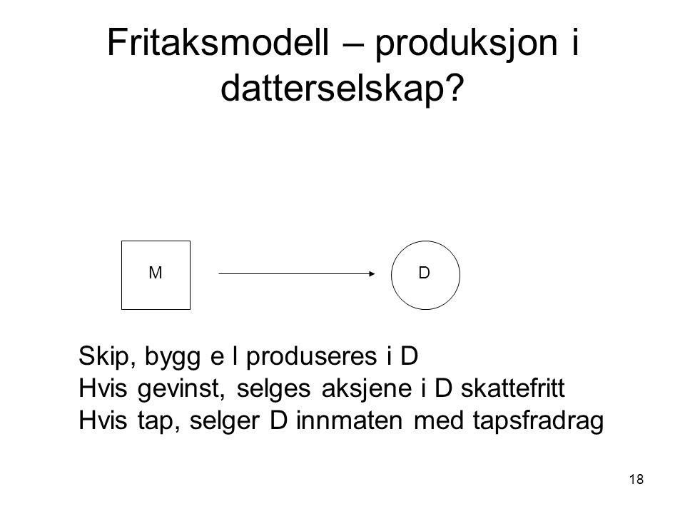 18 Fritaksmodell – produksjon i datterselskap.