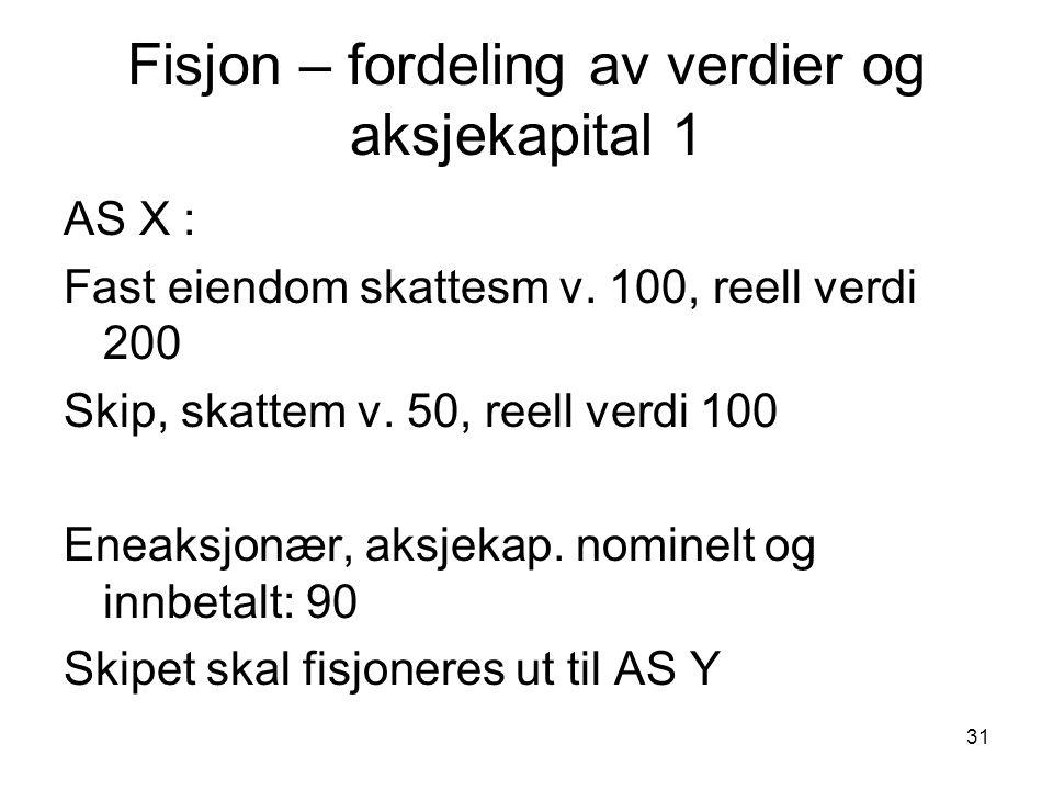 31 Fisjon – fordeling av verdier og aksjekapital 1 AS X : Fast eiendom skattesm v.