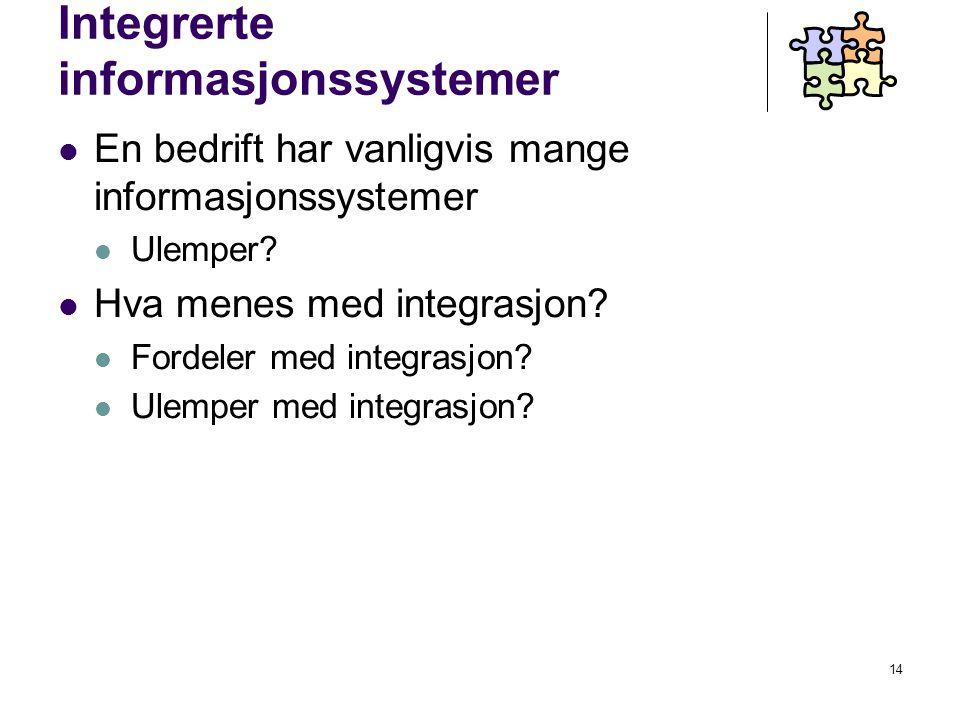 14 Integrerte informasjonssystemer En bedrift har vanligvis mange informasjonssystemer Ulemper.