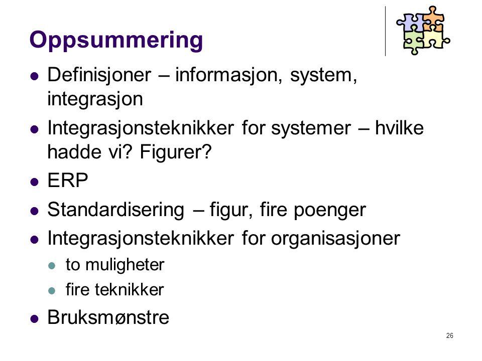 26 Oppsummering Definisjoner – informasjon, system, integrasjon Integrasjonsteknikker for systemer – hvilke hadde vi.
