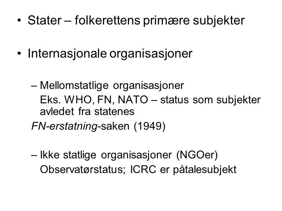 Stater – folkerettens primære subjekter Internasjonale organisasjoner –Mellomstatlige organisasjoner Eks.