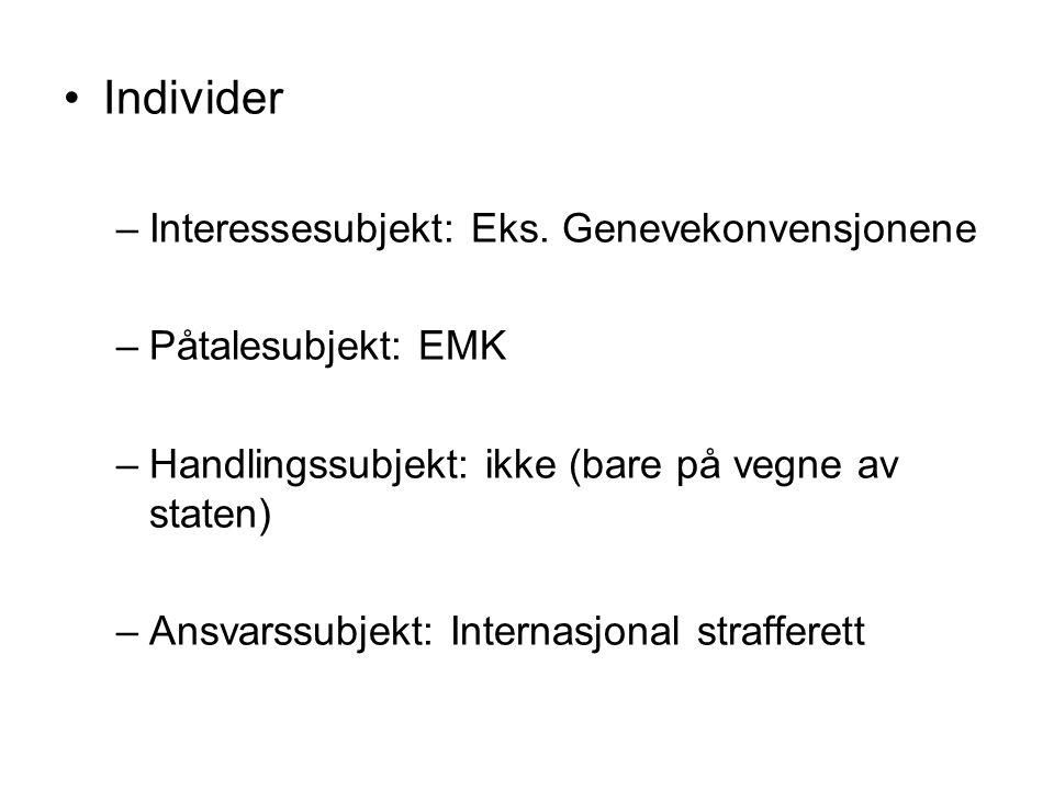Individer –Interessesubjekt: Eks.