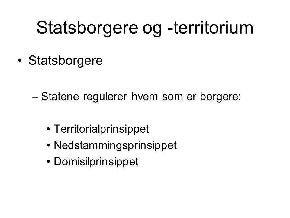 Statsborgere og -territorium Statsborgere –Statene regulerer hvem som er borgere: Territorialprinsippet Nedstammingsprinsippet Domisilprinsippet