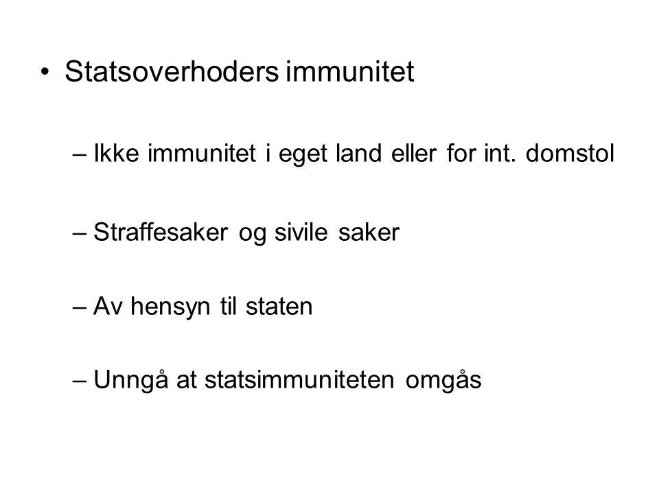 Statsoverhoders immunitet –Ikke immunitet i eget land eller for int.