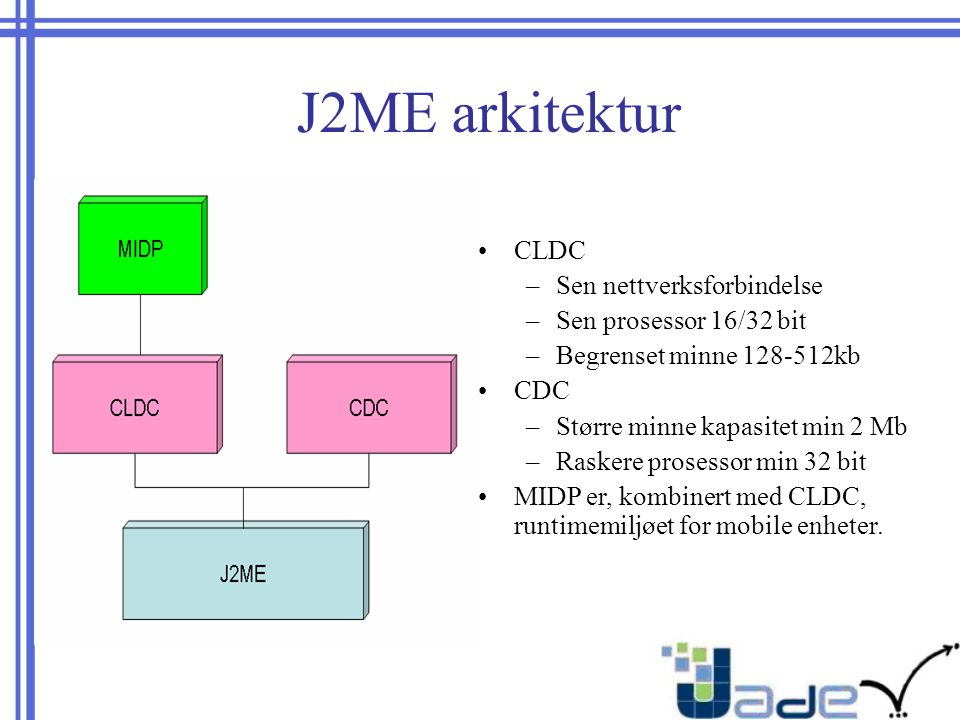 J2ME arkitektur CLDC –Sen nettverksforbindelse –Sen prosessor 16/32 bit –Begrenset minne 128-512kb CDC –Større minne kapasitet min 2 Mb –Raskere prosessor min 32 bit MIDP er, kombinert med CLDC, runtimemiljøet for mobile enheter.