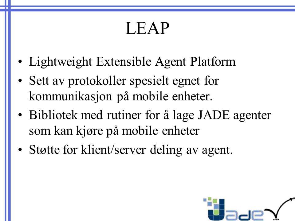 LEAP Lightweight Extensible Agent Platform Sett av protokoller spesielt egnet for kommunikasjon på mobile enheter.
