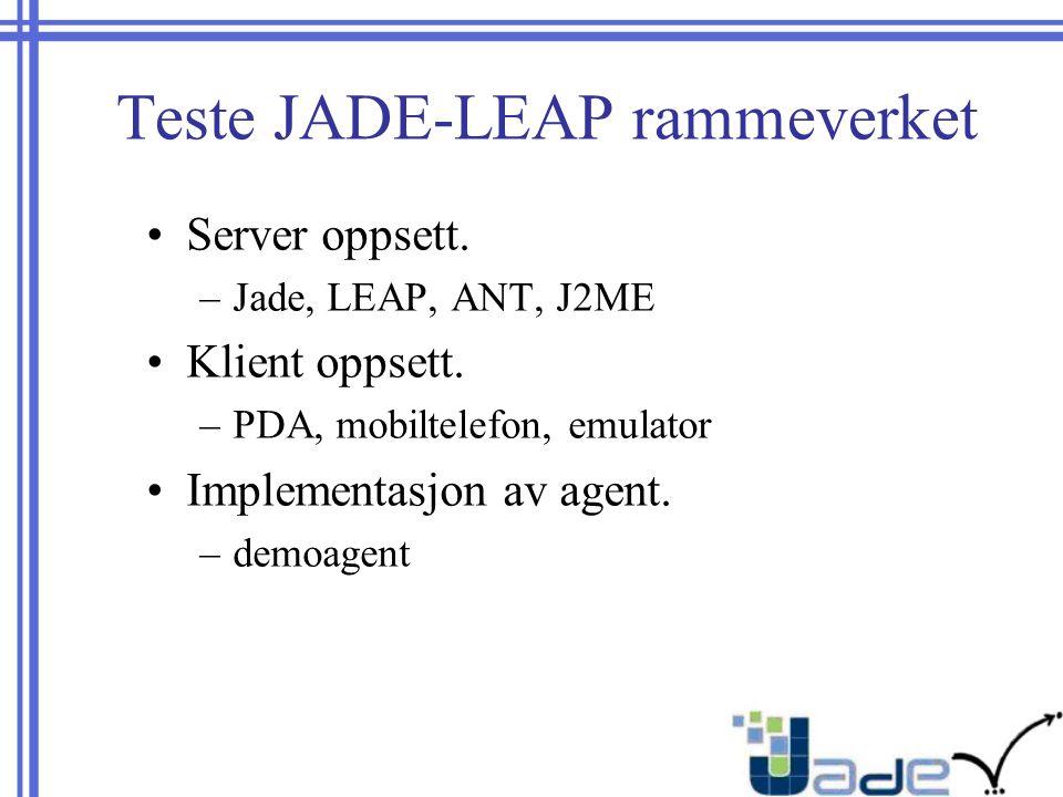 Teste JADE-LEAP rammeverket Server oppsett. –Jade, LEAP, ANT, J2ME Klient oppsett.