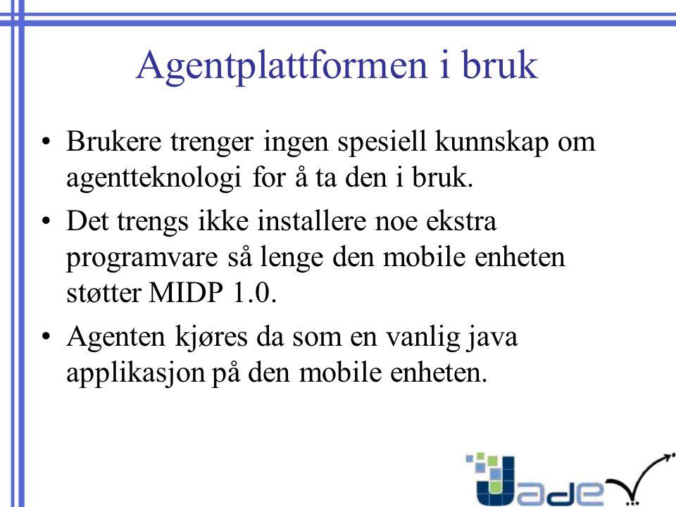Agentplattformen i bruk Brukere trenger ingen spesiell kunnskap om agentteknologi for å ta den i bruk.