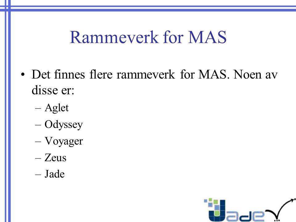 Rammeverk for MAS Det finnes flere rammeverk for MAS.