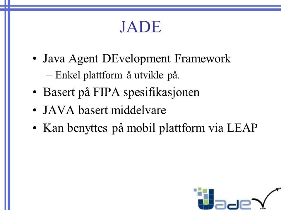 JADE Java Agent DEvelopment Framework –Enkel plattform å utvikle på.