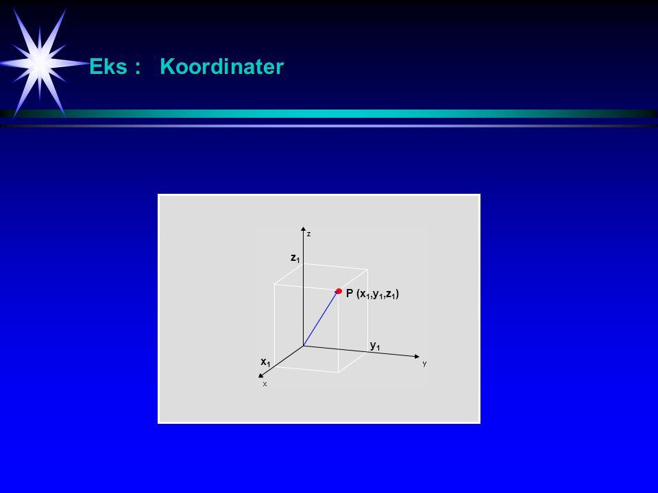 Eks : Ligninger og ulikheter angående 3D-geometri z  0 x = 3y = 3z = 3 3 3 3 x 2 + y 2 = 4  z = 3