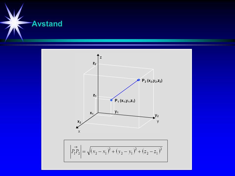 Avstand P 1 (x 1,y 1,z 1 ) P 2 (x 2,y 2,z 2 ) x2x2 y2y2 z2z2 x1x1 z1z1 y1y1