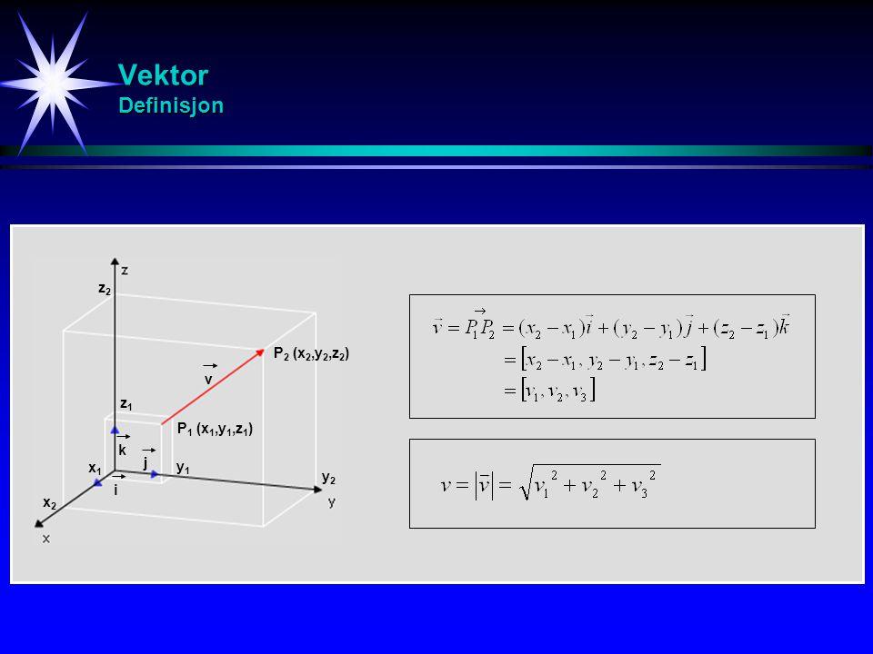 Vektor Definisjon P 1 (x 1,y 1,z 1 ) P 2 (x 2,y 2,z 2 ) x2x2 y2y2 x1x1 z1z1 y1y1 z2z2 i j k v