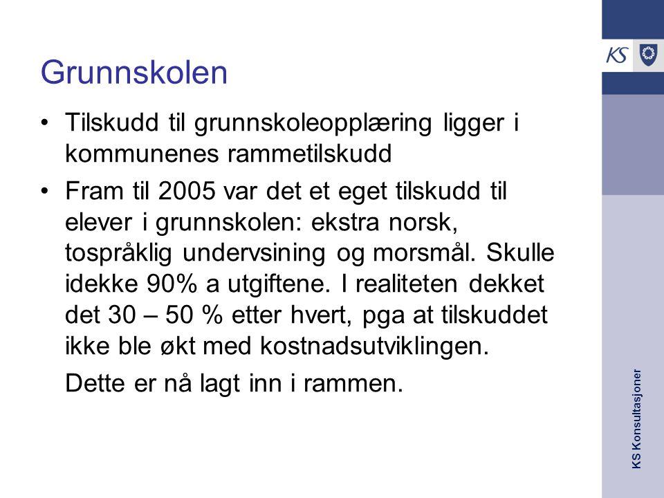 KS Konsultasjoner Grunnskolen Tilskudd til grunnskoleopplæring ligger i kommunenes rammetilskudd Fram til 2005 var det et eget tilskudd til elever i g