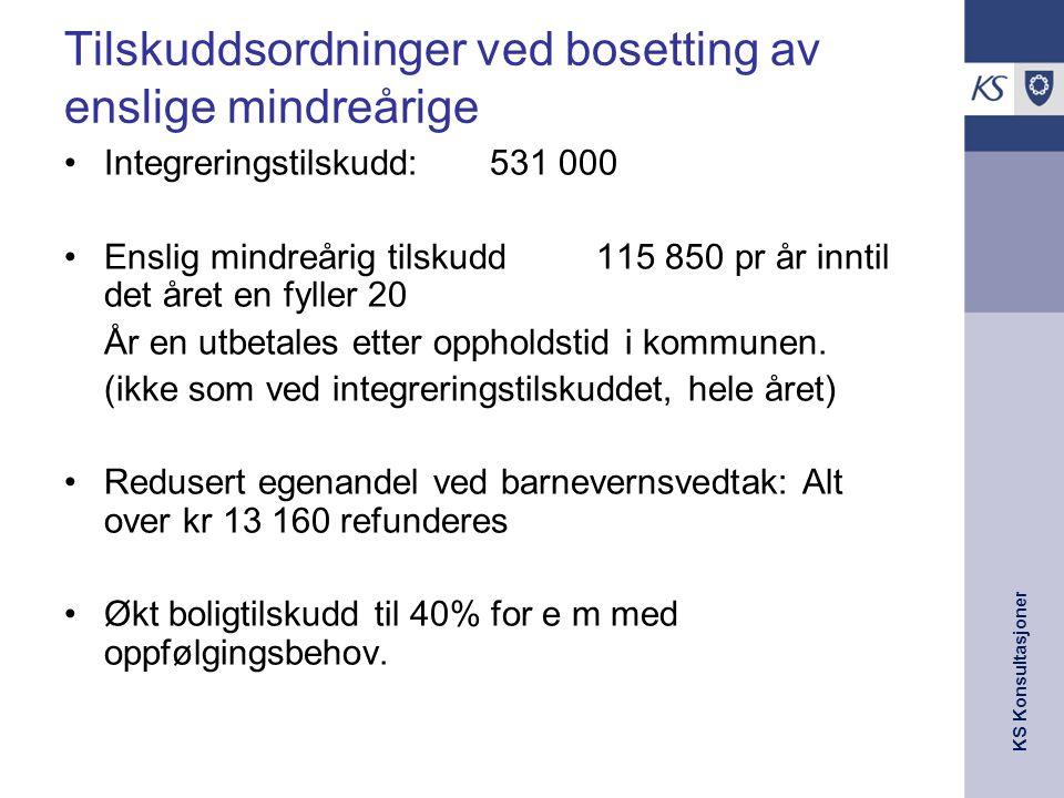 KS Konsultasjoner Tilskuddsordninger ved bosetting av enslige mindreårige Integreringstilskudd: 531 000 Enslig mindreårig tilskudd115 850 pr år inntil