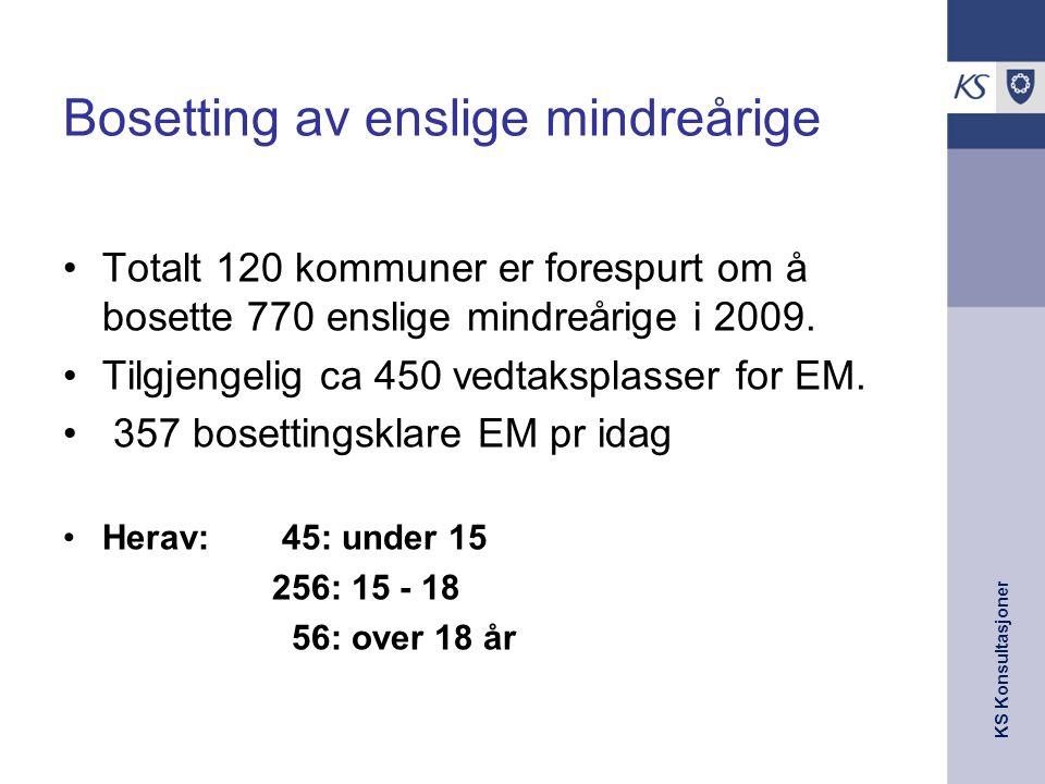 KS Konsultasjoner Bosetting av enslige mindreårige Totalt 120 kommuner er forespurt om å bosette 770 enslige mindreårige i 2009. Tilgjengelig ca 450 v