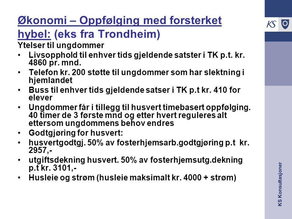KS Konsultasjoner Økonomi – Oppfølging med forsterket hybel: (eks fra Trondheim) Ytelser til ungdommer Livsopphold til enhver tids gjeldende satster i