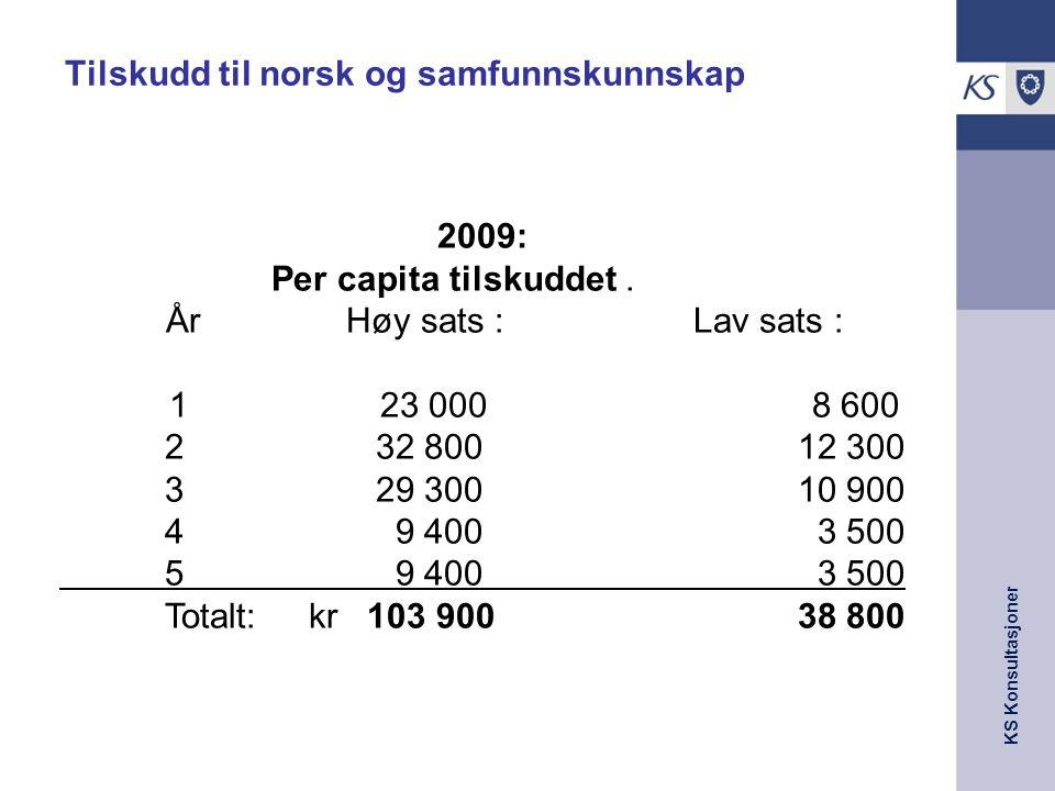 KS Konsultasjoner Tilskudd til norsk og samfunnskunnskap 2009: Per capita tilskuddet. År Høy sats : Lav sats : 123 000 8 600 2 32 80012 300 3 29 30010