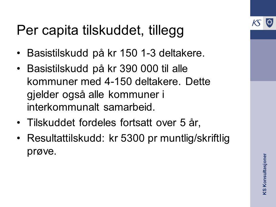 KS Konsultasjoner Per capita tilskuddet, tillegg Basistilskudd på kr 150 1-3 deltakere. Basistilskudd på kr 390 000 til alle kommuner med 4-150 deltak