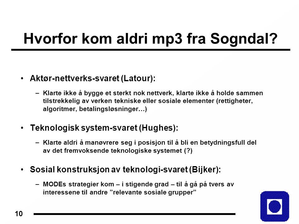 10 Hvorfor kom aldri mp3 fra Sogndal.
