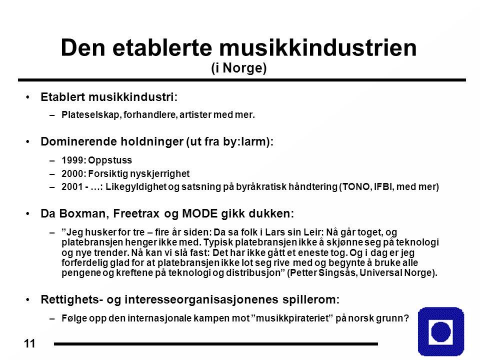 11 Den etablerte musikkindustrien (i Norge) Etablert musikkindustri: –Plateselskap, forhandlere, artister med mer.