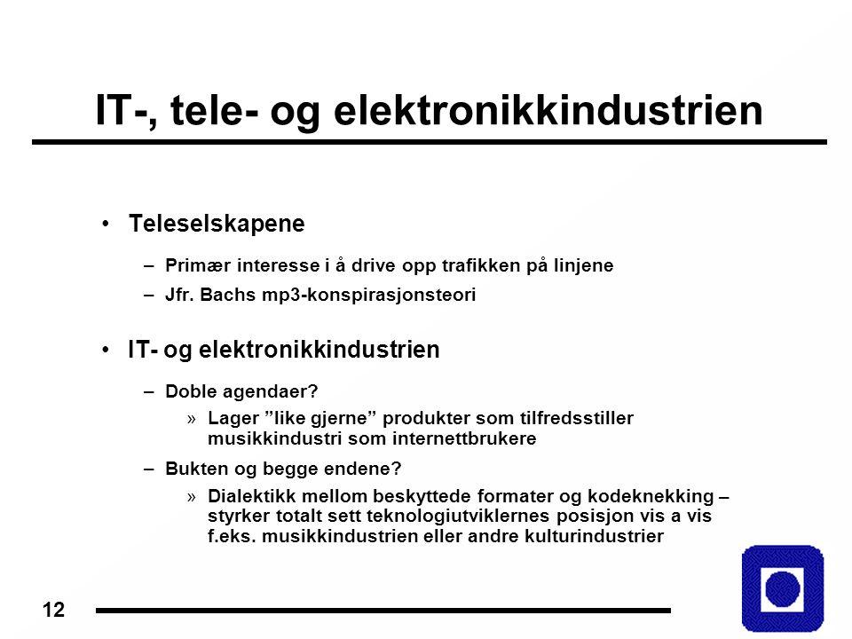12 IT-, tele- og elektronikkindustrien Teleselskapene –Primær interesse i å drive opp trafikken på linjene –Jfr.