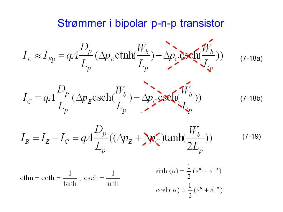 Strømmer i bipolar p-n-p transistor (7-18a) (7-18b) (7-19)