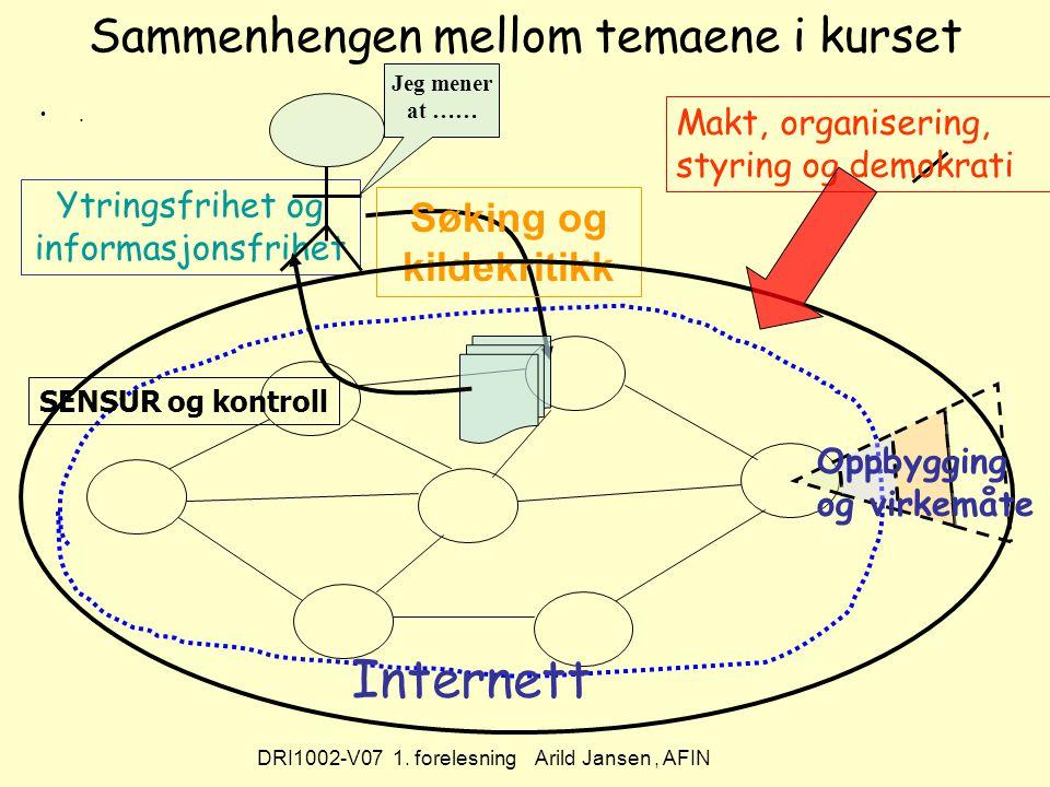 DRI1002-V07 1. forelesning Arild Jansen, AFIN Sammenhengen mellom temaene i kurset.