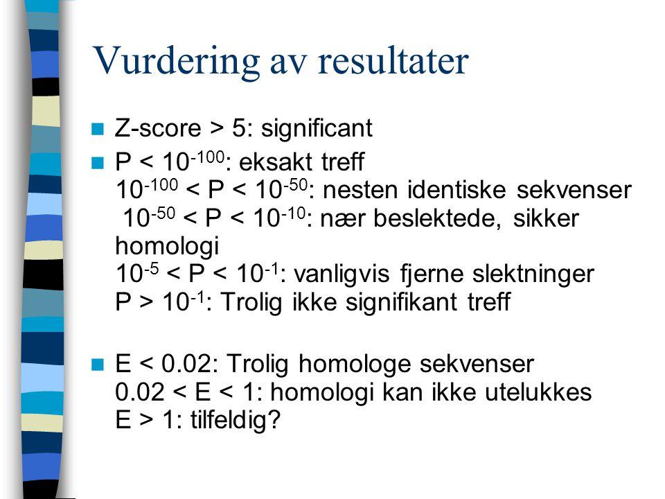 Vurdering av resultater Z-score > 5: significant P 10 -1 : Trolig ikke signifikant treff E 1: tilfeldig