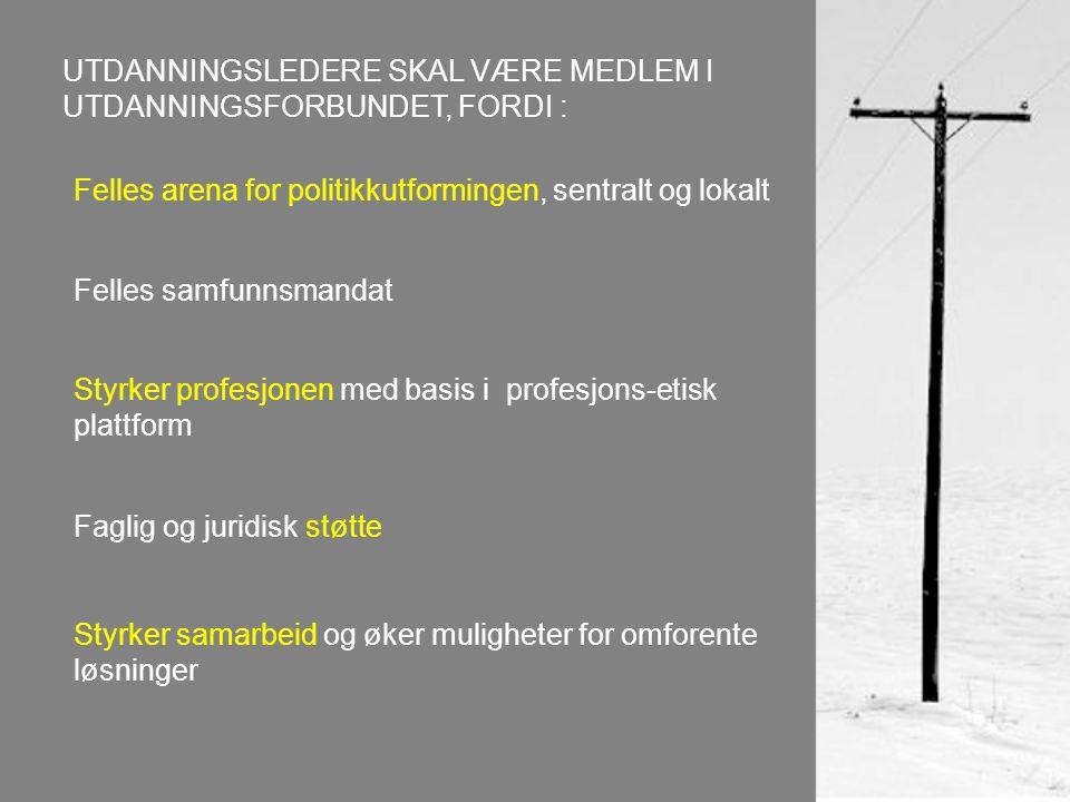 Felles arena for politikkutformingen, sentralt og lokalt Felles samfunnsmandat Styrker profesjonen med basis i profesjons-etisk plattform Faglig og juridisk støtte Styrker samarbeid og øker muligheter for omforente løsninger UTDANNINGSLEDERE SKAL VÆRE MEDLEM I UTDANNINGSFORBUNDET, FORDI :