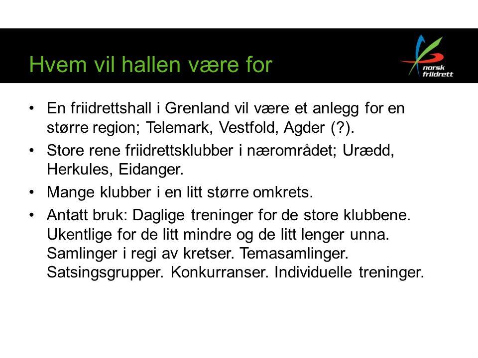 Hvem vil hallen være for En friidrettshall i Grenland vil være et anlegg for en større region; Telemark, Vestfold, Agder ( ).