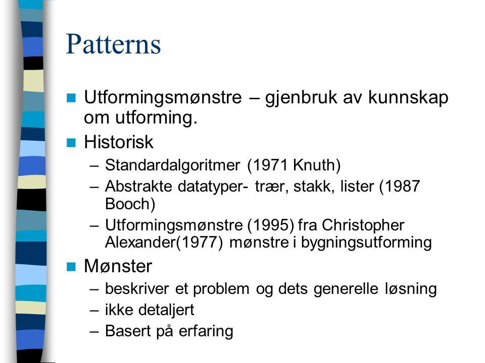 Patterns Utformingsmønstre – gjenbruk av kunnskap om utforming. Historisk –Standardalgoritmer (1971 Knuth) –Abstrakte datatyper- trær, stakk, lister (