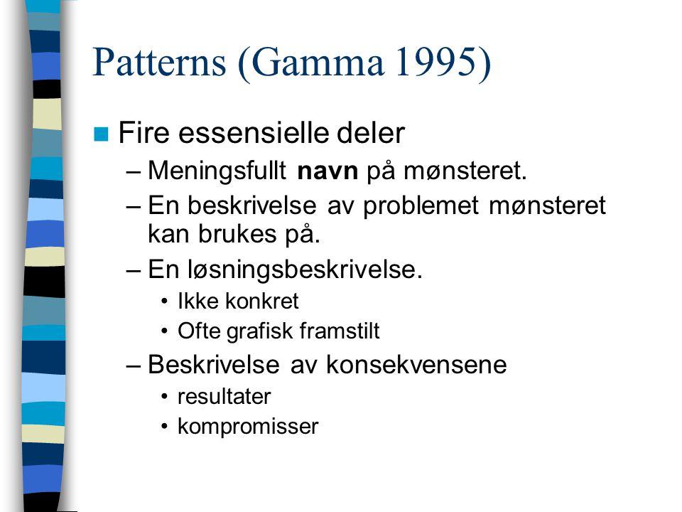 Patterns (Gamma 1995) Fire essensielle deler –Meningsfullt navn på mønsteret. –En beskrivelse av problemet mønsteret kan brukes på. –En løsningsbeskri