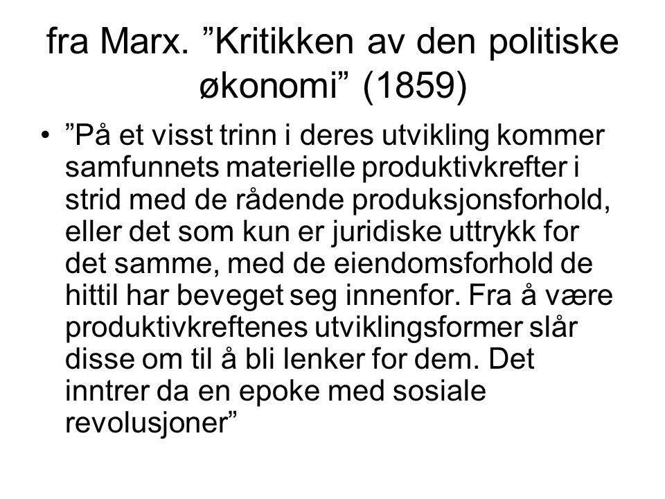 """fra Marx. """"Kritikken av den politiske økonomi"""" (1859) """"På et visst trinn i deres utvikling kommer samfunnets materielle produktivkrefter i strid med d"""