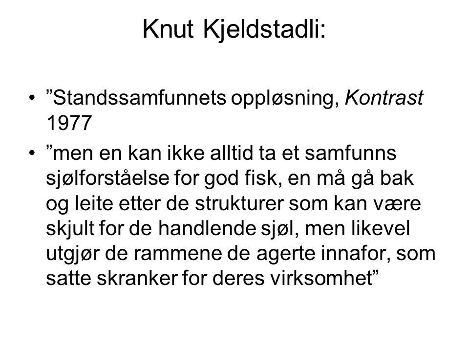 """Knut Kjeldstadli: """"Standssamfunnets oppløsning, Kontrast 1977 """"men en kan ikke alltid ta et samfunns sjølforståelse for god fisk, en må gå bak og leit"""