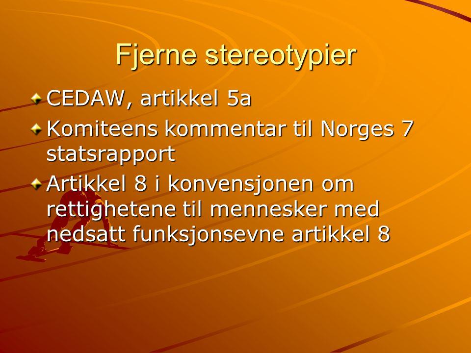 Fjerne stereotypier CEDAW, artikkel 5a Komiteens kommentar til Norges 7 statsrapport Artikkel 8 i konvensjonen om rettighetene til mennesker med nedsatt funksjonsevne artikkel 8
