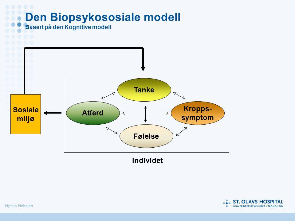 Tanke Kropps- symptom Følelse Atferd Sosiale miljø Individet Den Biopsykososiale modell Basert på den Kognitive modell