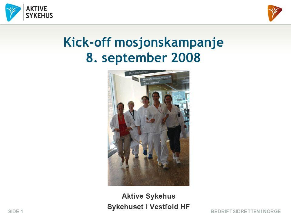 BEDRIFTSIDRETTEN I NORGESIDE 1 Kick-off mosjonskampanje 8. september 2008 Aktive Sykehus Sykehuset i Vestfold HF