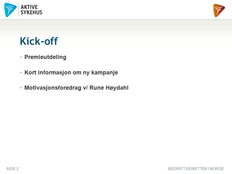 BEDRIFTSIDRETTEN I NORGESIDE 2 Kick-off Premieutdeling Kort informasjon om ny kampanje Motivasjonsforedrag v/ Rune Høydahl