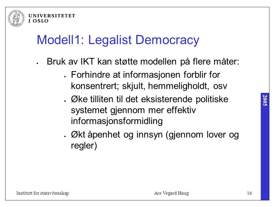 2005 Are Vegard Haug16Institutt for statsvitenskap Modell1: Legalist Democracy Bruk av IKT kan støtte modellen på flere måter: Forhindre at informasjonen forblir for konsentrert; skjult, hemmeligholdt, osv Øke tilliten til det eksisterende politiske systemet gjennom mer effektiv informasjonsformidling Økt åpenhet og innsyn (gjennom lover og regler)