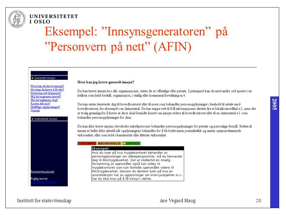 """2005 Are Vegard Haug20Institutt for statsvitenskap Eksempel: """"Innsynsgeneratoren"""" på """"Personvern på nett"""" (AFIN)"""