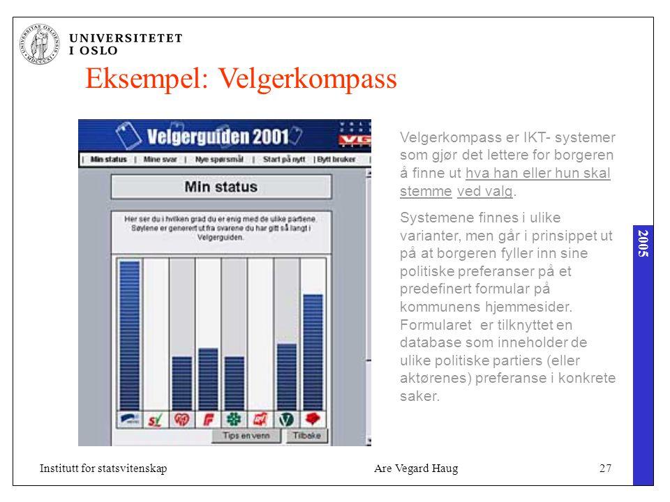 2005 Are Vegard Haug27Institutt for statsvitenskap Eksempel: Velgerkompass Velgerkompass er IKT- systemer som gjør det lettere for borgeren å finne ut