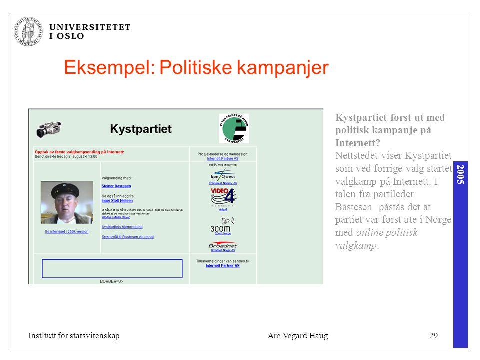 2005 Are Vegard Haug29Institutt for statsvitenskap Eksempel: Politiske kampanjer Kystpartiet først ut med politisk kampanje på Internett? Nettstedet v