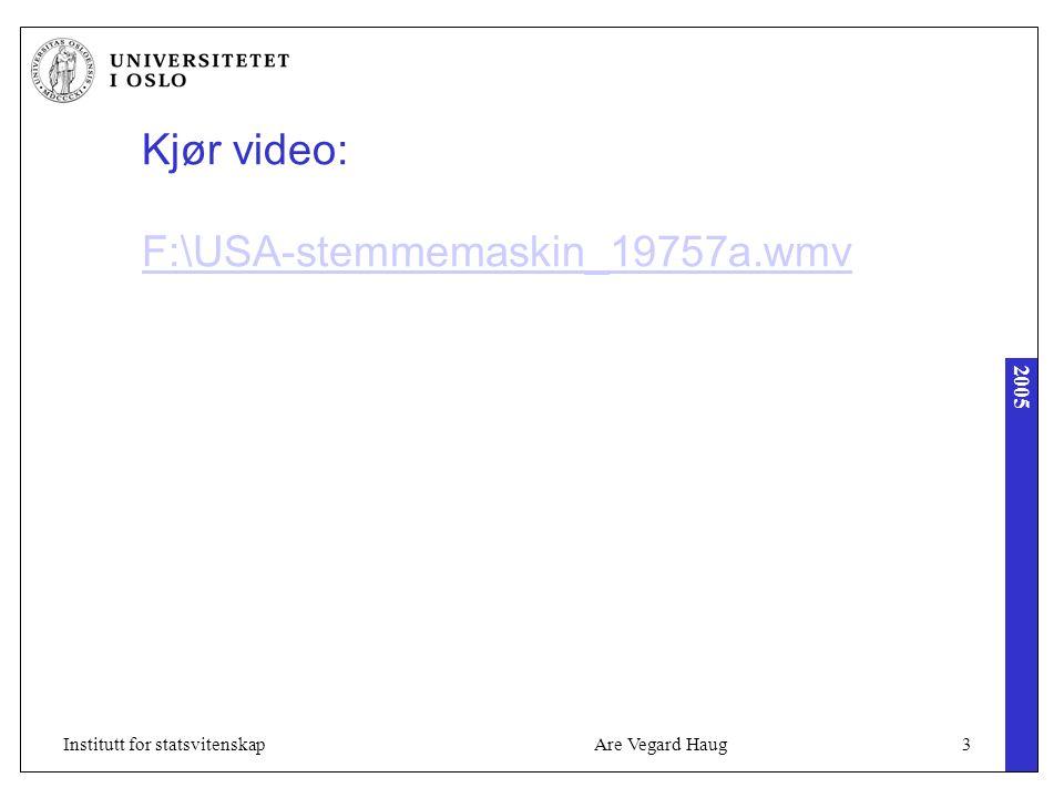 2005 Are Vegard Haug34Institutt for statsvitenskap Modell 3: Plebiscitary Democracy Positive til bruk av IKT til: Alle systemer som registrerer borgerens meninger, inkl petisjon og e-valg (så mye som mulig) Støtter direkte demokrati (stemme på saker, ikke personer) På 1960-tallet: Teledemokrati (TV + telefon) I dag ser tendenser på slik teknologibruk gjennom norske debattprogram, hvor du for eksempel blir bedt om å sende SMS til 1984 og merk svare med ja eller nei Toveis kabel TV, mm Negative til bruk av IKT som: Propagandapreget og populistisk informasjon fra politiske partier Store offentlige portaler som ensidig promoterer sin institusjoner.