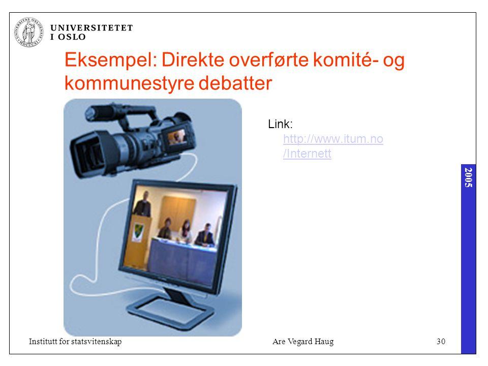 2005 Are Vegard Haug30Institutt for statsvitenskap Eksempel: Direkte overførte komité- og kommunestyre debatter Link: http://www.itum.no /Internett http://www.itum.no /Internett