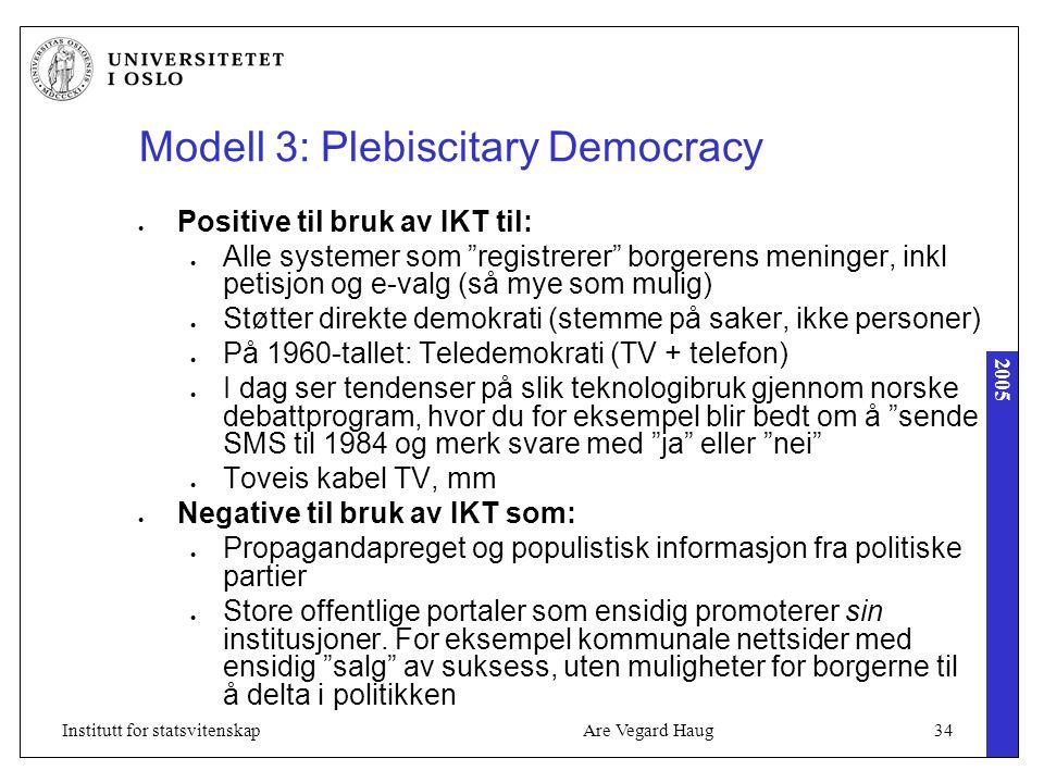 """2005 Are Vegard Haug34Institutt for statsvitenskap Modell 3: Plebiscitary Democracy Positive til bruk av IKT til: Alle systemer som """"registrerer"""" borg"""