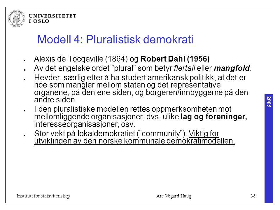 2005 Are Vegard Haug38Institutt for statsvitenskap Modell 4: Pluralistisk demokrati Alexis de Tocqeville (1864) og Robert Dahl (1956) Av det engelske ordet plural som betyr flertall eller mangfold.