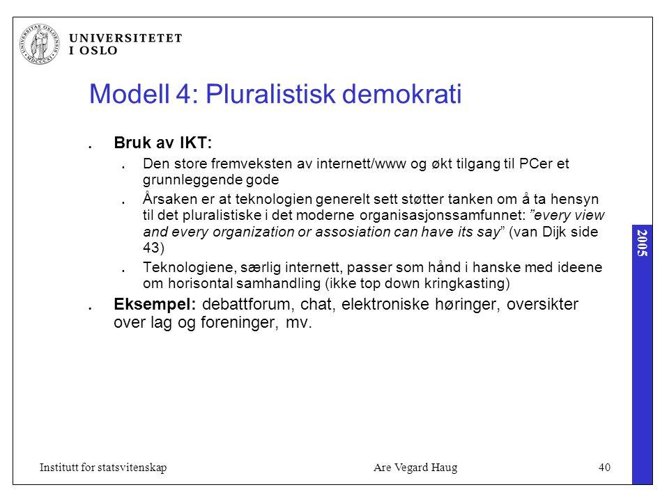 2005 Are Vegard Haug40Institutt for statsvitenskap Modell 4: Pluralistisk demokrati Bruk av IKT: Den store fremveksten av internett/www og økt tilgang