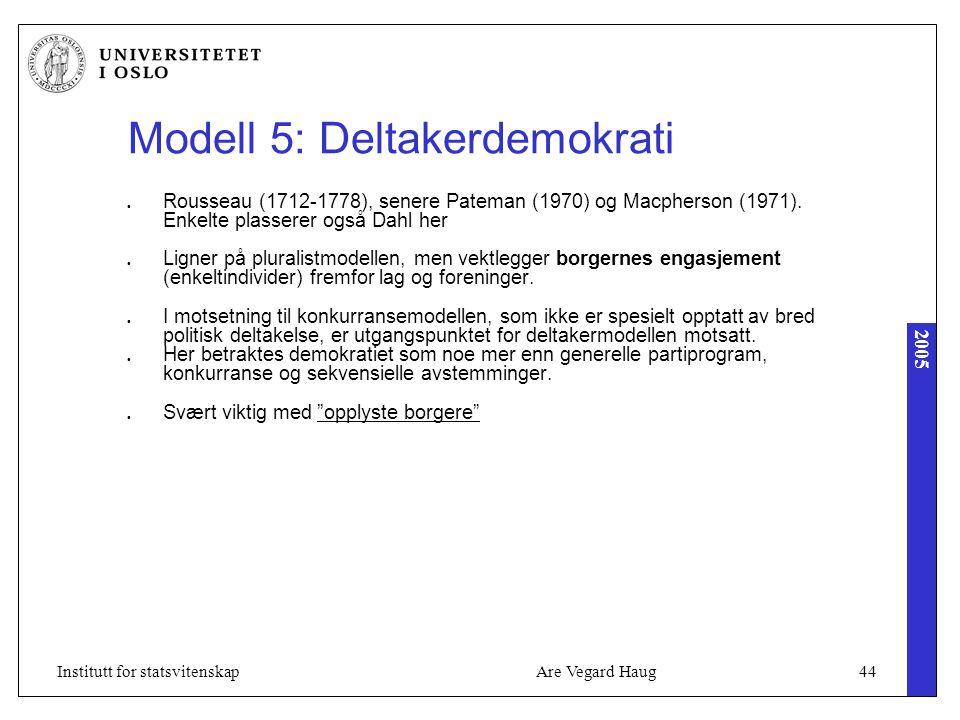 2005 Are Vegard Haug44Institutt for statsvitenskap Modell 5: Deltakerdemokrati Rousseau (1712-1778), senere Pateman (1970) og Macpherson (1971). Enkel