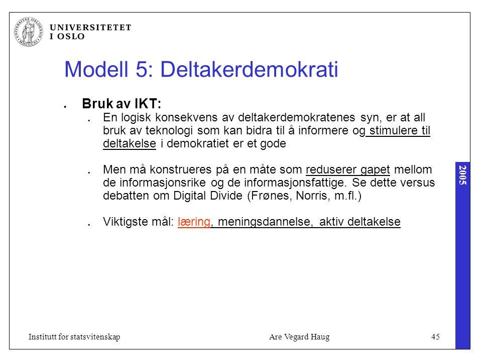 2005 Are Vegard Haug45Institutt for statsvitenskap Modell 5: Deltakerdemokrati Bruk av IKT: En logisk konsekvens av deltakerdemokratenes syn, er at all bruk av teknologi som kan bidra til å informere og stimulere til deltakelse i demokratiet er et gode Men må konstrueres på en måte som reduserer gapet mellom de informasjonsrike og de informasjonsfattige.